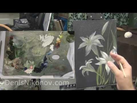 Рисуем белую лилию акрилом и маслом на темном фоне - YouTube