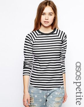 Image 1 of ASOS PETITE Baseball Top In Stripe