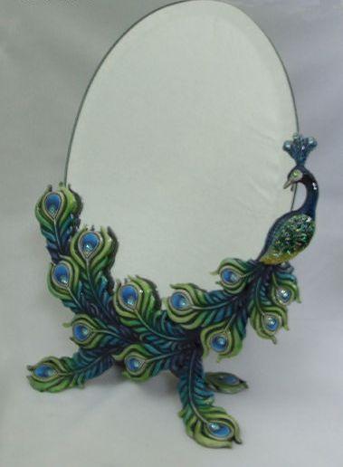 Green & Blue Standing Peacock Mirror
