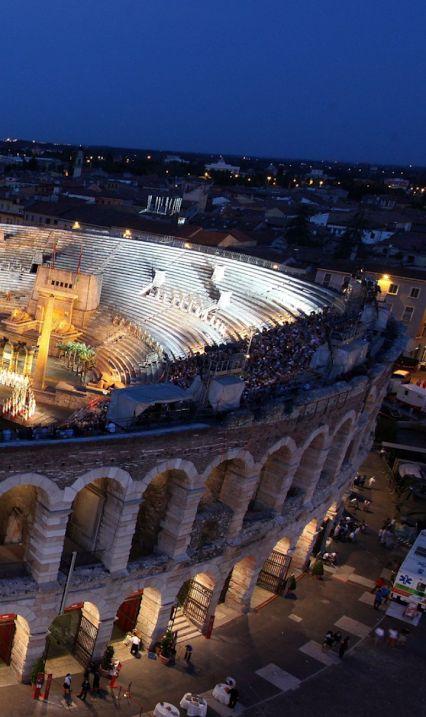 L'Arena di Verona, Italy The Verona Arena (Arena di Verona) is a Roman amphitheatre in Piazza Bra in Verona, Italy built in 1st century.                                                                                                                                                     More