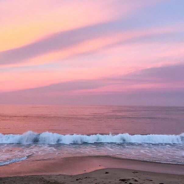 Океан, розовый, закат, облака, небо, атмосфера, жизнь, путешествие, приключение, природа, пляж, песок