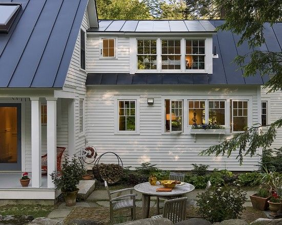 Exterior White Siding Design Dark Grey Metal Roof