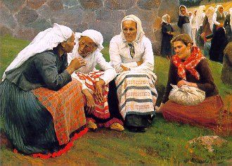 "(""Women of Ruokolahti on the Church Hill""), a painting by Albert Edelfelt (1854-1905), depicts some of Finnish folk costumes in delightful detail. I prefer this painting to any modern people wearing the polished outfits as they look much more authentic. Poor people would not have worn what we are shown as Finnish folk costumes at events."