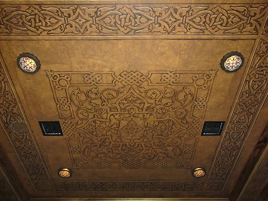 "This incredible ""leather"" ceiling was done for a home theater by artist Jeff Raum. The Modello Designs stencil pattern used was Carpets & Panels Aladdin A vinyl stencil in a negative weed. www.ModelloDesigns.com"