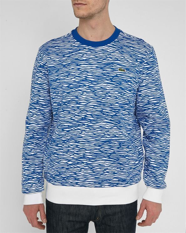 Sweat Shirt Col Rond Blanc Vague Bleu LACOSTE LIVE