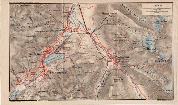 1907 St. Moritz Switzerland Antique Map Sankt by Craftissimo