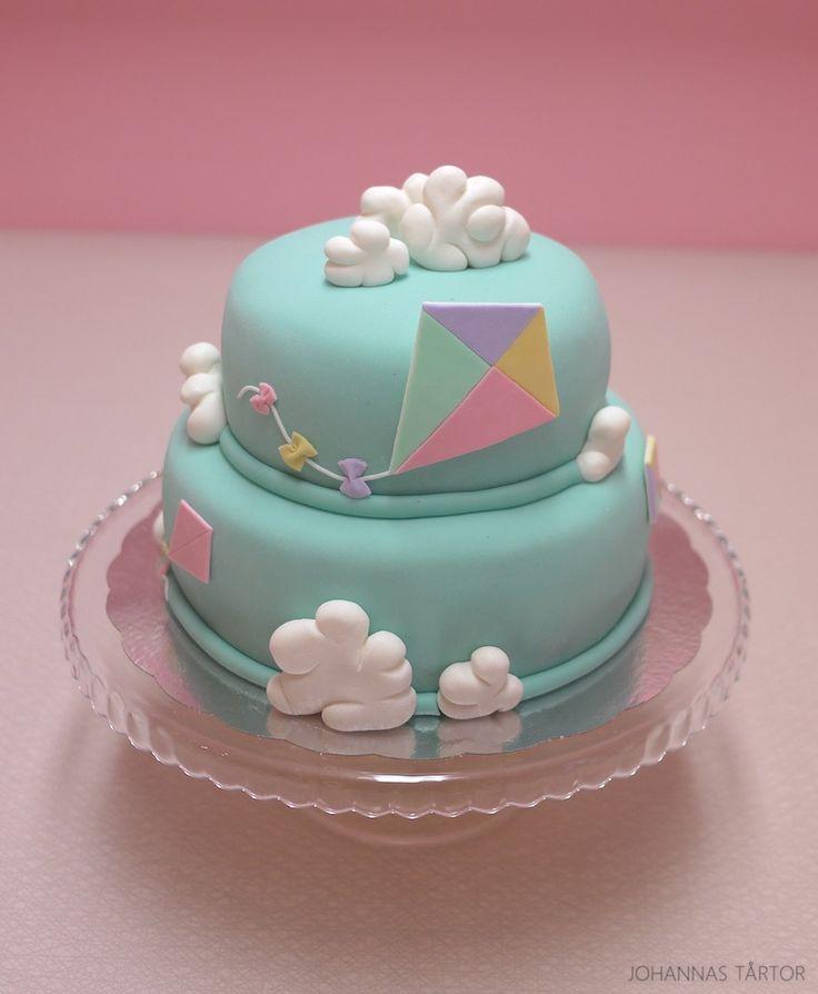 Tårta, moln, drakar, drake, våningstårta, cake, stacked cake, kite, clouds