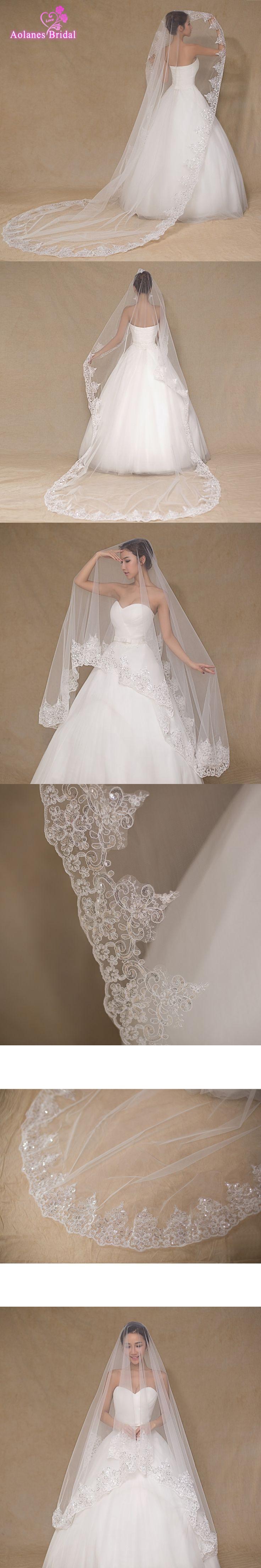 2017 Wedding Veils  Bridal Veil One Layer Handmade Beaded Sequins Appliques Edge Bridal Wedding Accessories Veil Ivory Color