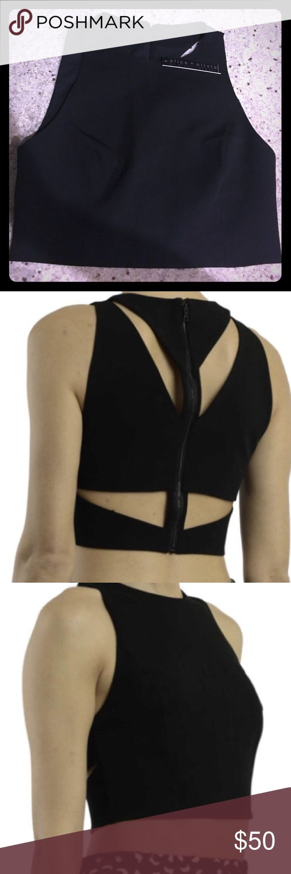 Alice + Olivia Barrett short top New with Tags - Sleeveless stretch fabric crew neck crop top featuring rear zip fastening and openworks. Alice + Olivia Tops Crop Tops