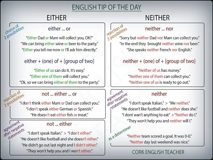 Either and Neither. Want more? Follow @katiekt8 to discover more than thousands helpful English lessons for you to improve your skills.    https://www.pinterest.com/katiekt8/lets-learn-english-esl-lessons/