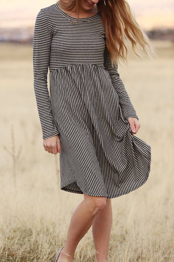 Striped Winter Dress with Long Sleeves