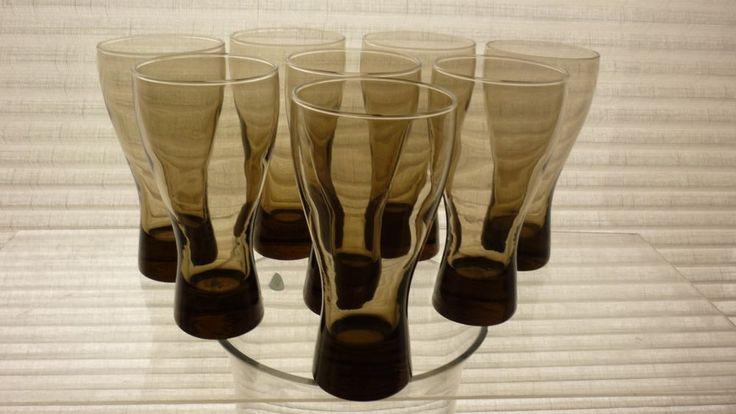 Set of 8 matching vintage smokey brown drinking glasses