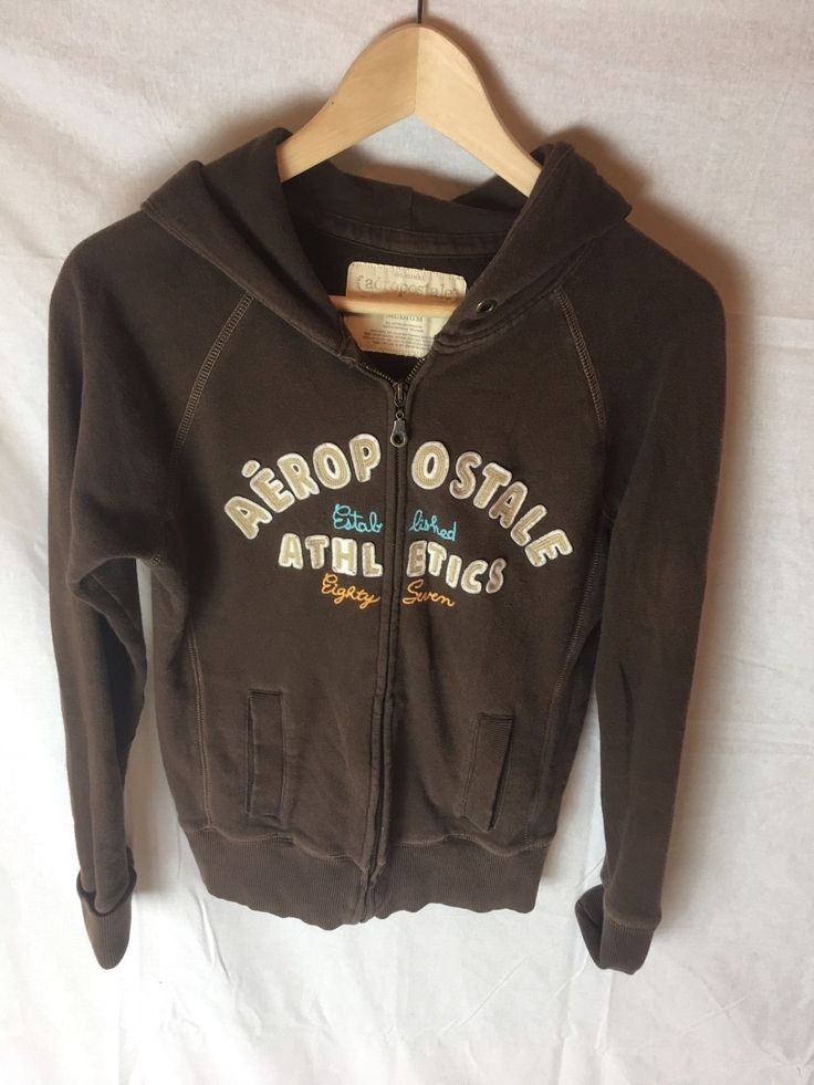 12.57$  Buy now - http://vilhb.justgood.pw/vig/item.php?t=r36ye721893 - Aeropostale Athletics Brown Women's Hoodie Full Zip Sz Medium M 12.57$