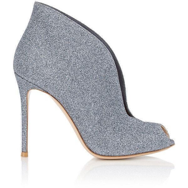 """Gianvito Rossi Women's """"Vamp"""" Ankle Booties found on Polyvore featuring shoes, boots, ankle booties, heels, ankle boots, grey, leather ankle boots, high heel booties, leather boots and grey booties"""