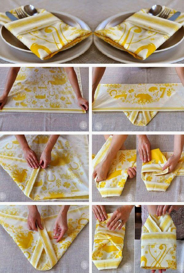 Idéias charmosas para deixar a decoração de mesa muito mais especial com detalhe e dobraduras diferentes nos guardanapos de tecido.