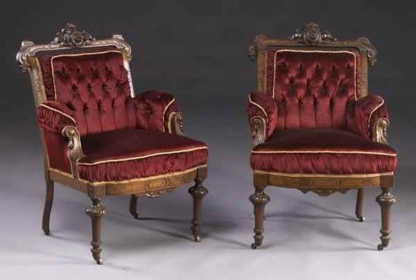 Pair of Walnut Renaissance Revival Armchairs