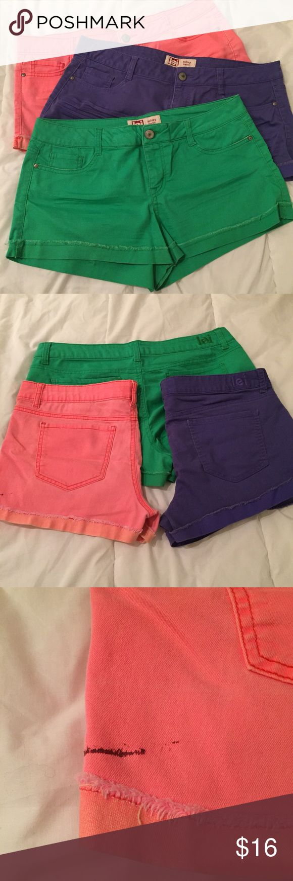 Set of 3 adorable bright shorts! Comfy and cute! Super cute and comfy shorts with rolled cuffs and stretch! Great for the beach or bikes in the park! All 3 have been worn but are in good shape.. the pink pair has a paint stain at the bottom as shown in one of the photos (might come out with a little effort). Great opportunity to pick up some fun shorts for spring break! lei Shorts