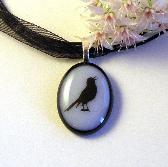 Pretty Little Songbird Fused Glass Pendant by GreenhouseGlassworks,: Fused Glass