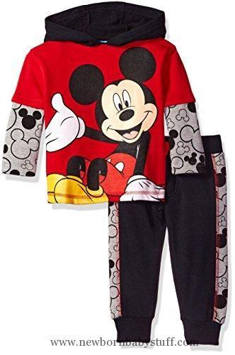 Baby Boy Clothes Disney Boys' 2-Piece Mickey Fleece Set with Piecing, Red, 18M