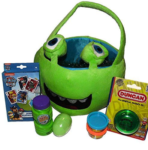 Green Funny Monster Easter Plush Basket Filled with Silly Putty, Play-Doh, Bubbles, Paw Patrol Card Game & Duncan Yo-Yo Unknown http://www.amazon.com/dp/B00THKED3O/ref=cm_sw_r_pi_dp_MTfbvb127FH12