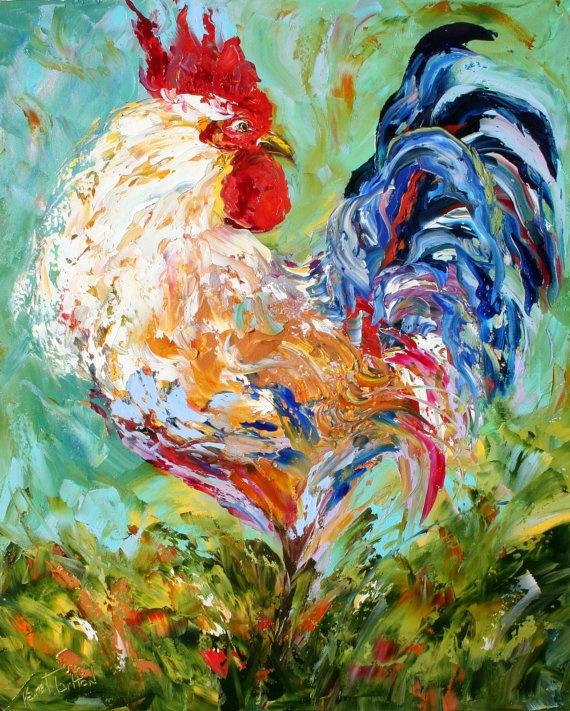 Original oil painting impasto ROOSTER palette by Karensfineart