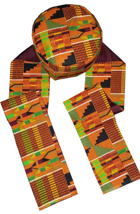 African Hat And Scarf Set Kufi Kente Traditional Wear Quality Tailored Available In Different Sizes African Hats Hat And Scarf Sets Scarf Set