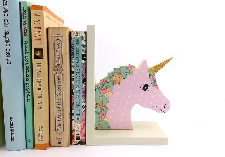 Childrens bookend Wooden unicorn , girl room decor, kids room decoration pink by PrettymShop on Etsy https://www.etsy.com/uk/listing/214764397/childrens-bookend-wooden-unicorn-girl