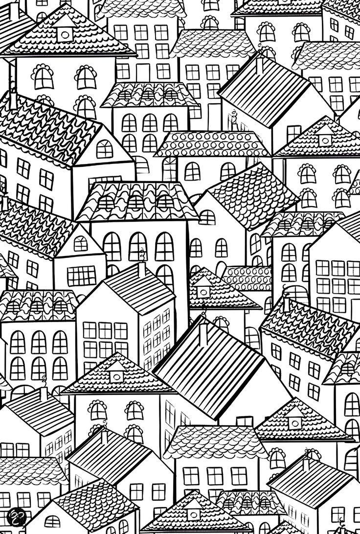 Free coloring page coloring-architecture-village-roofs. Village : house with beautiful roofs