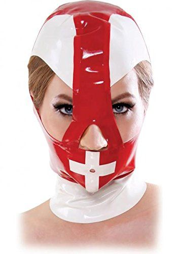 Introducing Malpractice Mask Zippered Latex Hood  RedWhitePackage of 2. Great product and follow us for more updates!