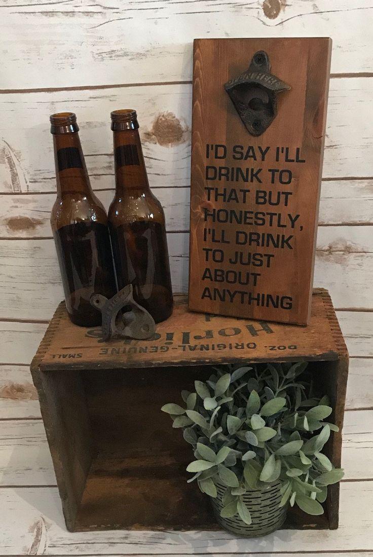 Beer Lover Gift, Rustic Bottle Opener, Wall Mounted Bottle Opener, Rustic Beer Opener, Craft Beer Lover, Wooden Beer Opener, Patio Decor