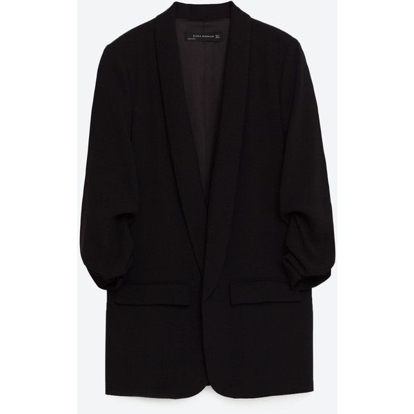 CREPE BLAZER - BLAZERS-WOMAN | ZARA United States (8,735 INR) ❤ liked on Polyvore featuring outerwear, jackets, blazers, blazer, zara, coats, blazer jacket, crepe jacket and crepe blazer