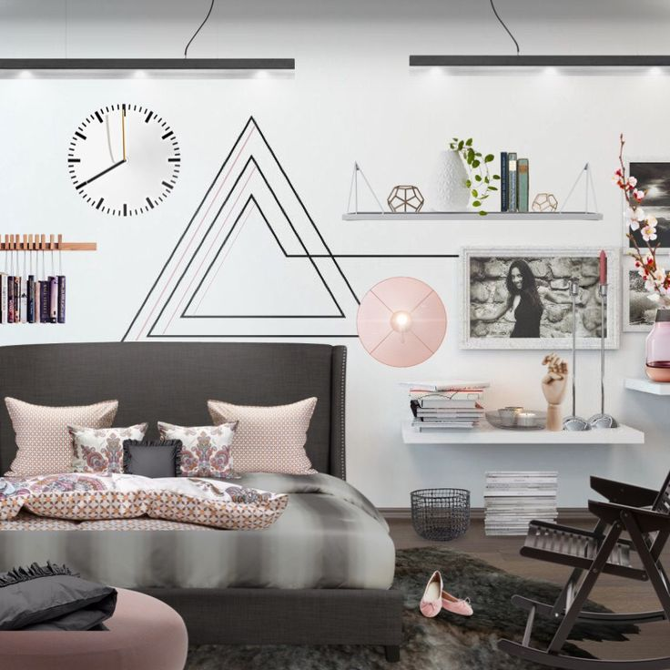 'You can't go wrong with monochrome bedroom .... touch of soft pink ? Why not ;) just for fun... by @aleksandra_100' created in #neybers