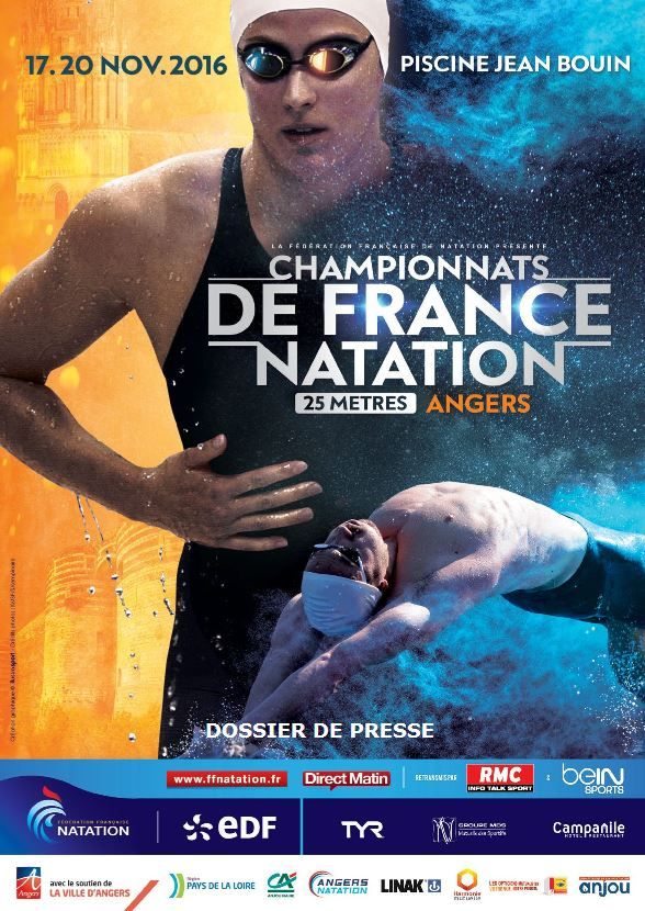 A la sortie des Jeux Olympiques de Rio 2016 où l'équipe de France a décroché  deux médailles d'argent sur 50m et 4x100m nage libre messieurs, l'élite de la  natation française reprend le chemin de la compétition du 17 au 20 novembre  2016 à #Angers pour les premiers championnats de France 25m de cette nou- velle olympiade.
