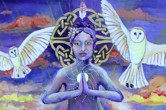 "Healing 11"" by 14"" PRINT - spiritual art, orange and purple, white owls, prayer art, meditation art"