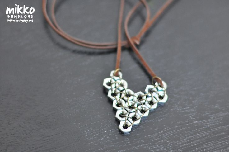 Hex Nut Pendant.  Saw a lovely one done with gold toned hex nuts and a chain instead of the cord. beautiful!