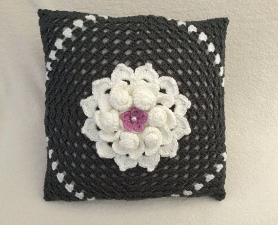 Crochet pillow flower pillow decorative charcoal by JilaCrochet