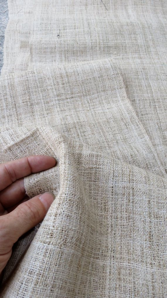 VINTAGE HEMP FABRIC, Textile, Measurement: Are; 373 cm long about 12 ft 3 inches long by 37 cm , 14 1/2 inches wide.  Save $$$$$ Buy more than One item