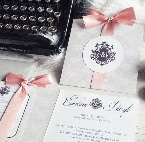 StyLOVE Stylowe zaproszenia ślubne z monogramem i wstążką