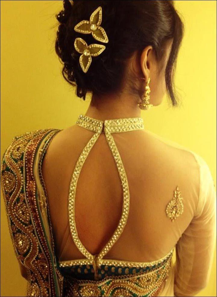 Blouse Back Neck Designs - Transparent Crystal Blouse Back Neck Design