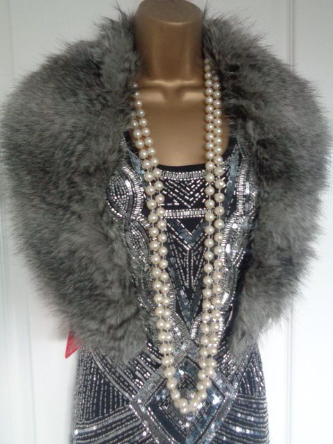 NEW 1920's 30's flapper inspired grey faux fur luxury ...