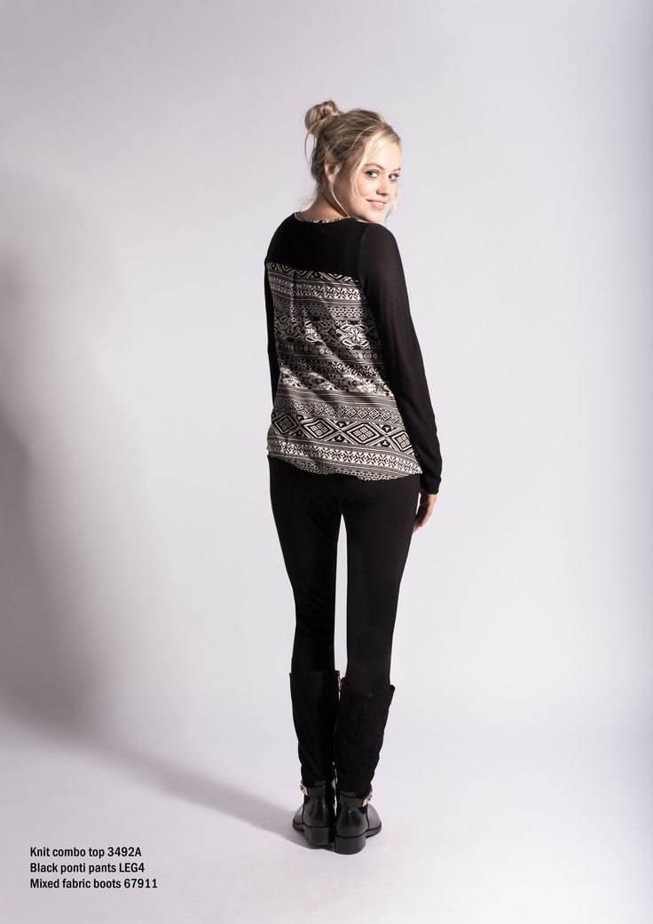 3492A Black Knit combination top