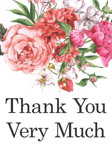 Pink Flower Thank You Card. Traditional, yet beautiful, this thank you card says thank you it the way it's been said for hundreds of years - with flowers. A gift for those we love, flower arrangements can say almost everything, and they make the most beautiful thank you one can receive. Show your appreciation to your helpers for all the aid you've received with this lovely thank you card.