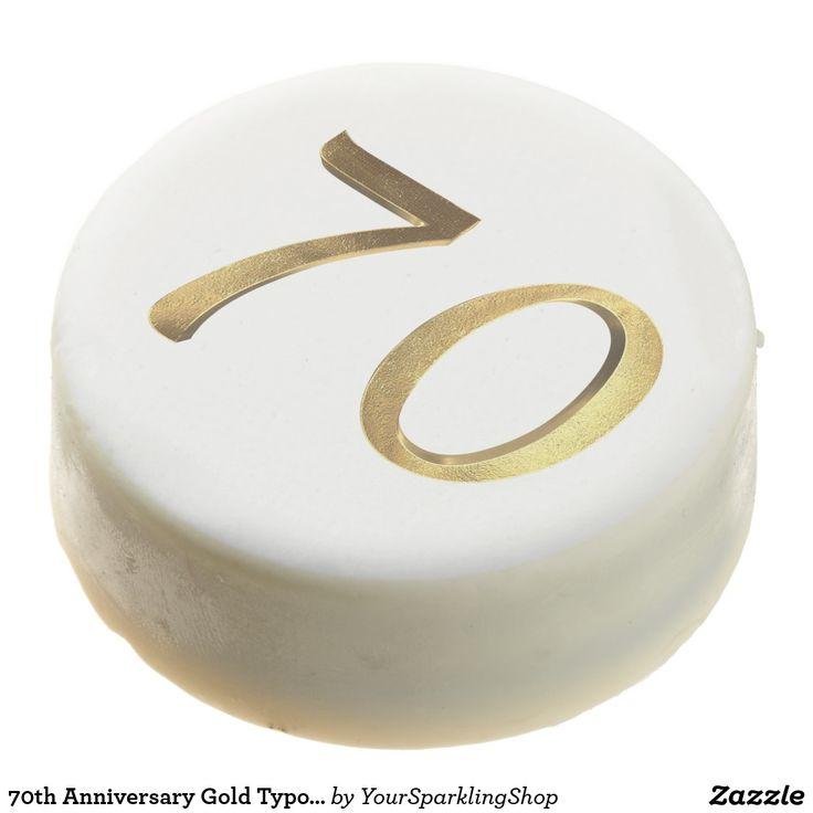 70th Anniversary Gold Typography Elegant Chocolate Covered Oreo