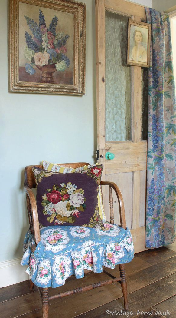 English Country Cottage | A Comfy Chair in The Snug | Old Herefordshire Cottage.   Love this slipcovered chair seat!!
