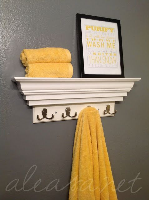 Bathroom makeover. Love the yellow and gray combo and the scripture printable!.