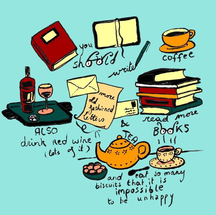 Editorial illustration Handlettering Illustratie boeken, thee, lezen Handletteren evelinevanparys.com
