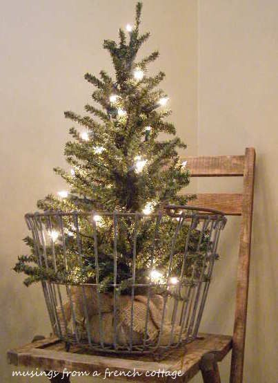 A Small Tree in a Big Basket - Simple, lighted tree set in a vintage egg basket (from MusingsFromAFrenchCottage blog)