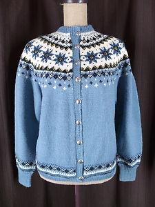 Sundt Bergen Large 100% Wool Blue Nordic Fair Isle Metal Button Cardigan Sweater