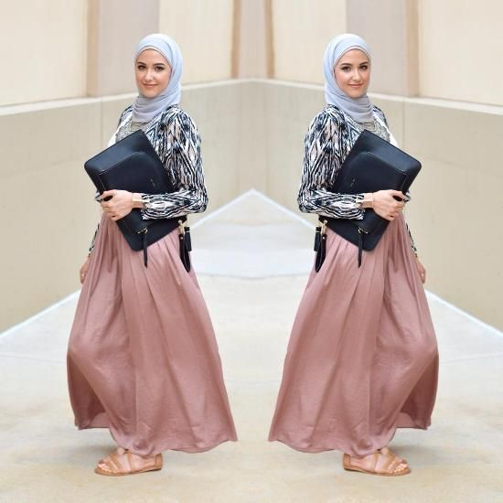 pastel maxi skirt hijab style, Classy hijab outfits http://www.justtrendygirls.com/classy-hijab-outfits/