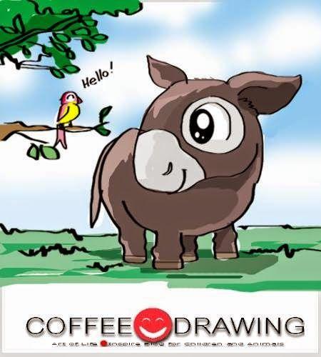 """COFFEE-DRAWING: สอนเด็กวาดรูป PART 64 """" ลา """" [Donkey]"""